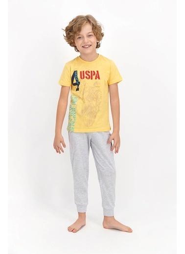 U.S. Polo Assn. Soluk Sarı Genç Erkek Kısa Kol Pijama Takımı Sarı